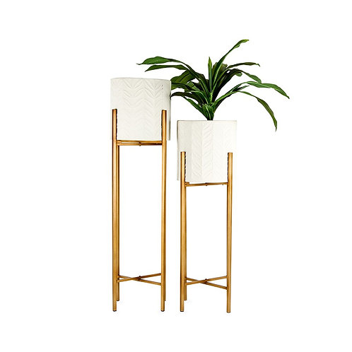 Gold & White Tall Planters