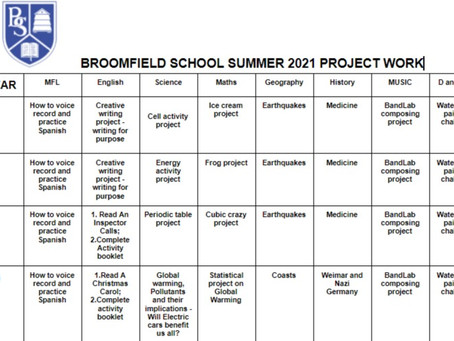 Remember there are lots of projects to keep our pupils busy this summer