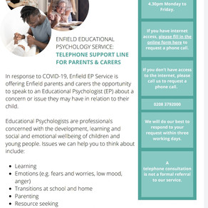 Telephone Support Line for parents from the Educational Psychology Service