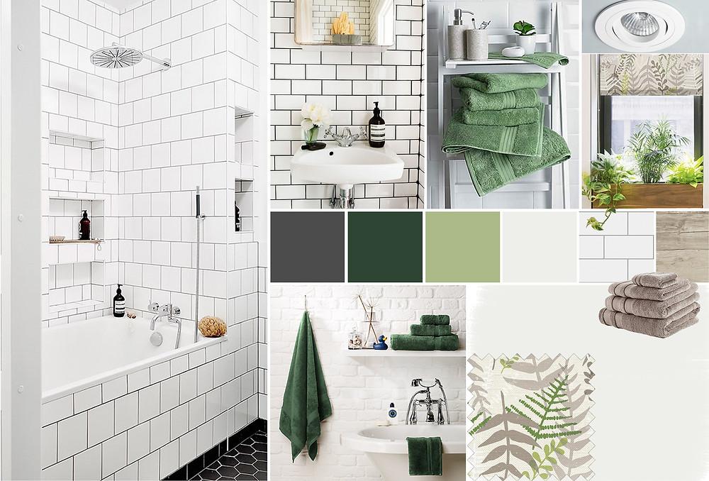 bathroom scheme with green acccents