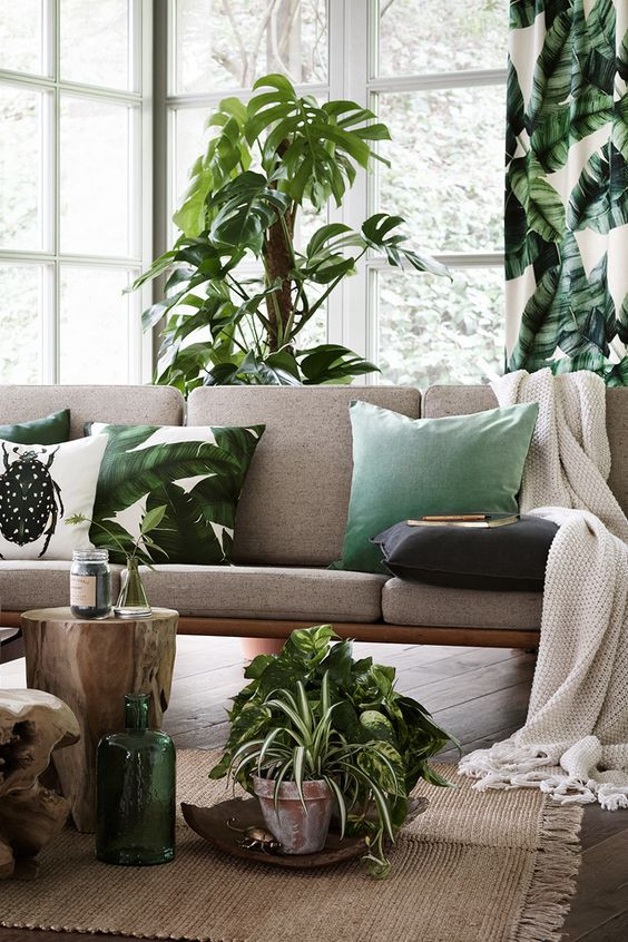 Light livingroom with Tropical cushion and curtains