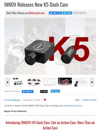 INNOV Releases New K5 Dash Cam