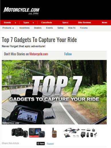 INNOVV K5 dash cam is selected as one of the Top 7 Gadgets To Capture Riding