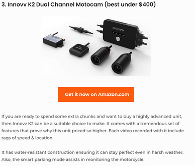 INNOVV K2 is Rated As The Best Dual Channel Motocam Under $400 in 2020