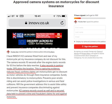 Approved Camera Systems on Motorcycles for Discount Insurance