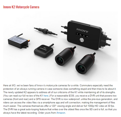INNOVV K2 Motorcycle Camera System- Best Motorcycle Gear For Daily Riders
