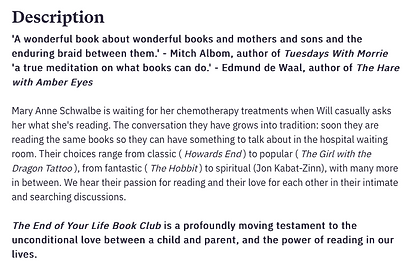 The end of your life book club description