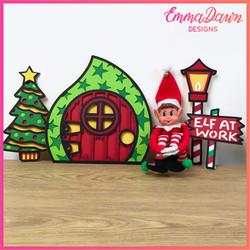 3D ELF DOOR and ACCESSORY Svg Bundle 17 Layered Christmas Designs Svg, Png, Dxf, Pdf & Fcm Digital D