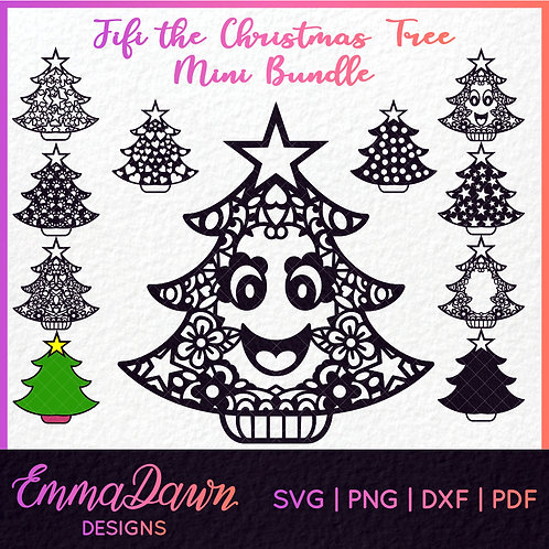 FIFI the CHRISTMAS TREE Mini Bundle Mandala / Zentangle 11 Designs Svg