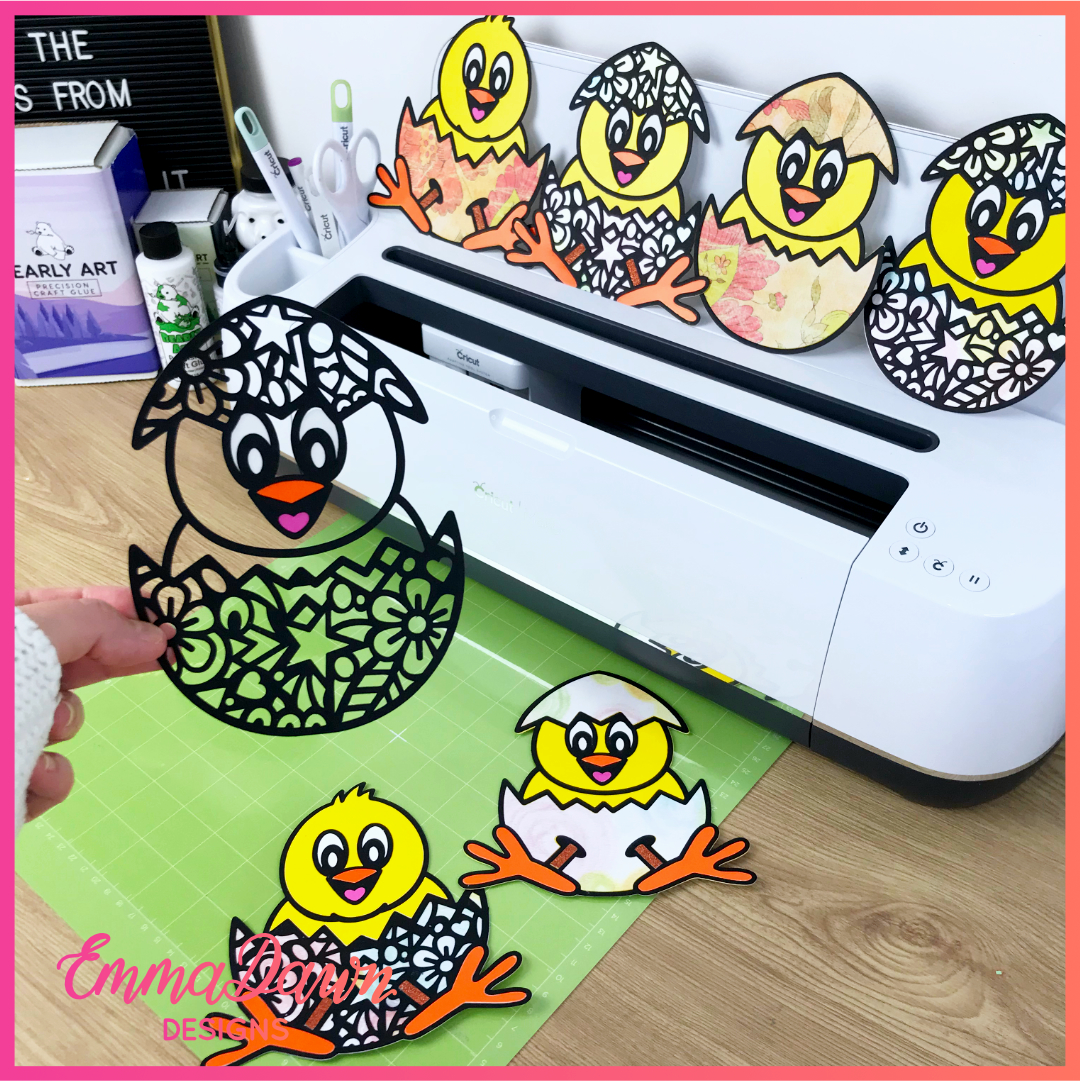 The CUTE EASTER CHICK Svg Bundle, Chick Svg, Easter Svg, Easter Bundle Svg 6 Mandala Zentangle Desig