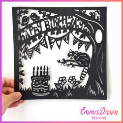 Happy Birthday Raccoon Scene