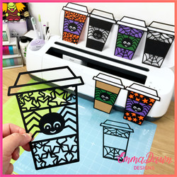 HALLOWEEN SPIDER COFFEE Cup Svg Bundle 8 Mandala / Zentangle Designs Svg, Png, Dxf, Pdf & Fcm Digita