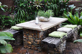 Outdoor Table Set Natural Stone