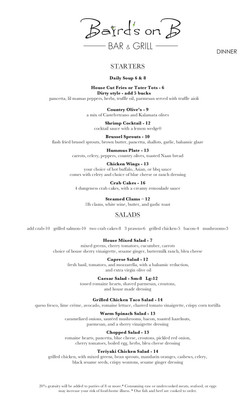 Dinner menu front