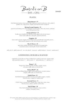 Dinner menu back