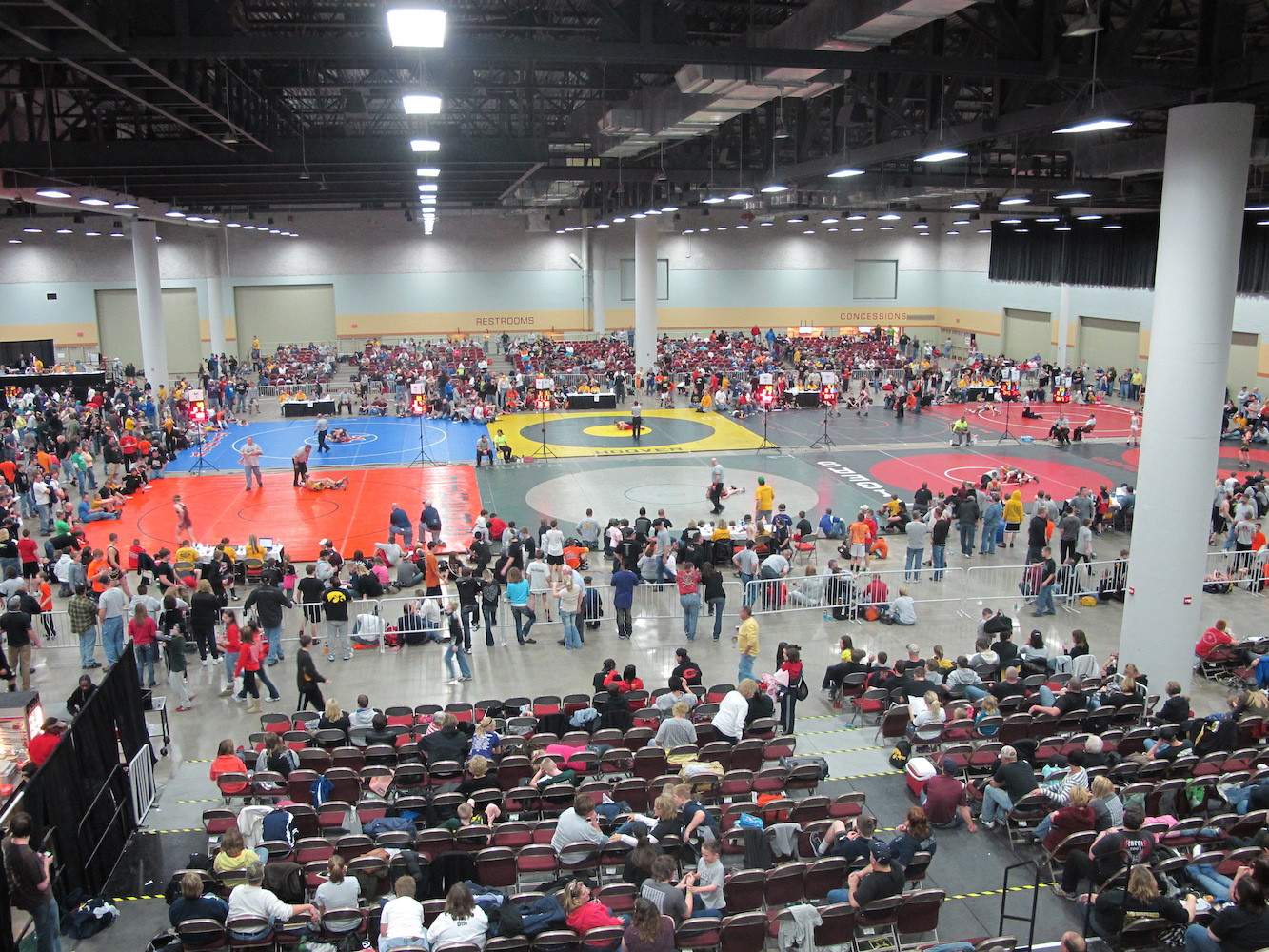 The Iowa Events Center hosts many wrestling tournaments, from pee wees to professionals