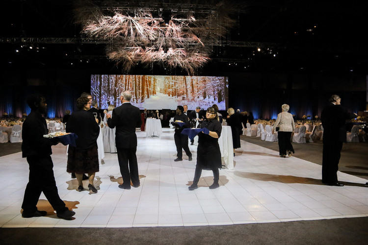 Catholic Charities Annual Snowball Gala at the Overland Park Convention Center is one of the biggest events of the season. While the event utilizes the entire building, the photo featured above takes place in the venues spacious Exhibition Halls.