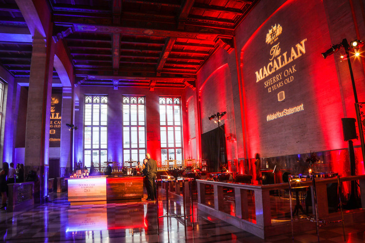 The North Ballroom has the perfect layout to host a cocktail reception. In this image, it was transformed into an exclusive tasting experience for The Macallan; creating 2 different ambiances with lighting to reflect their newest collection.