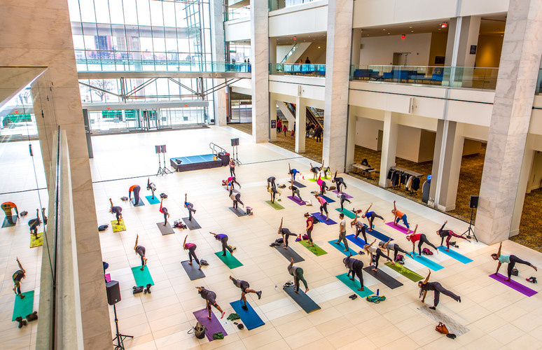 TCF Center's glass atrium is 30,000 square feet and three stories tall