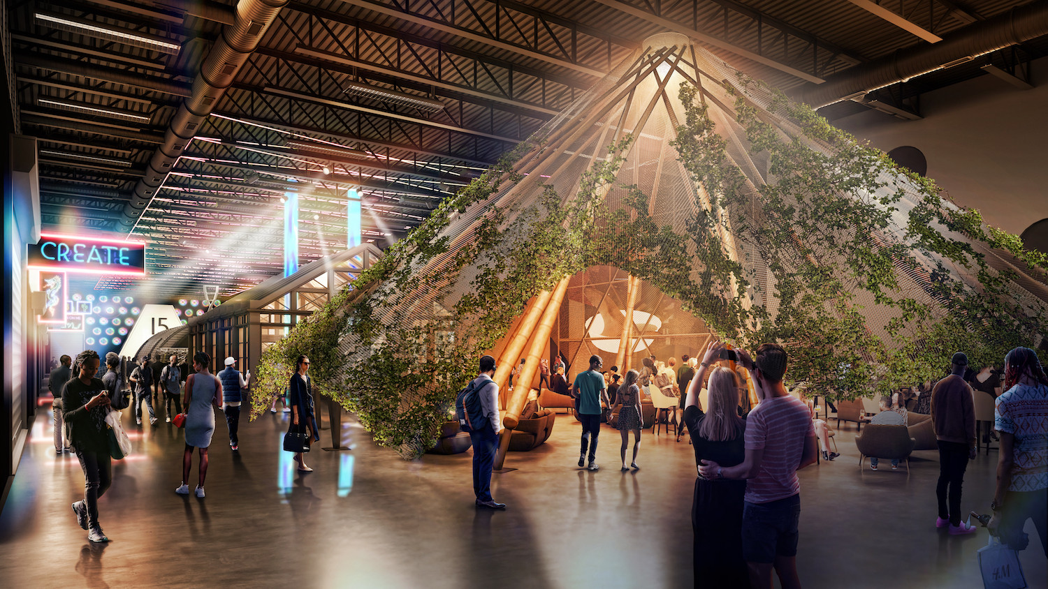 Sanctuary, an intimate event space constructed of bamboo sourced from Bali. (Design + Distill)