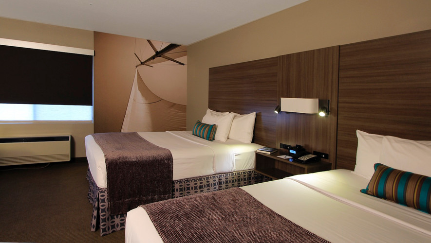 Groups love our city view rooms with two queen beds - fridge, micorwave and coffee maker