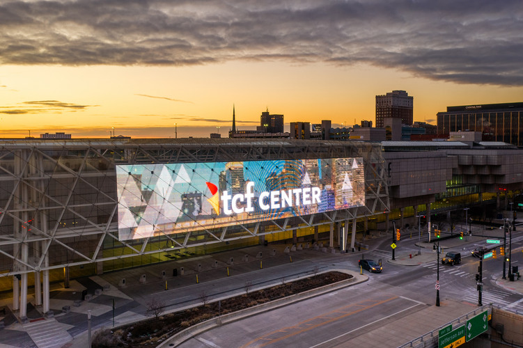 Exterior Corner Digital Sign at TCF Center