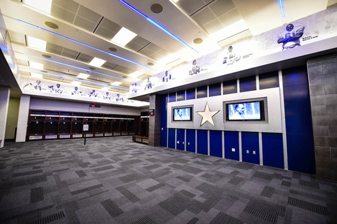 Nothing can replicate the unique 2,400 square feet of space where the Dallas Cowboys prepare to take the field on game days. The Cowboys Locker Room is perfect for small receptions, meetings, and exclusive dinners. This space is equipped with two large televisions and can hold up to 150 guests.
