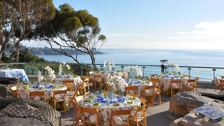 Birch Aquarium's outdoor Tide Pool Plaza can be set up for seated dining, cocktail hours, receptions, and more.