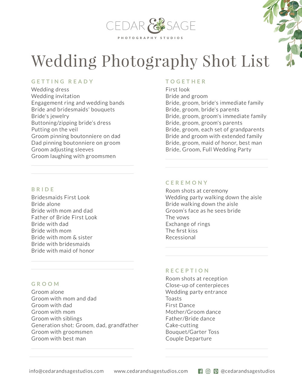 Downloadable Wedding Photography Shot List From Cedar & Sage Studios