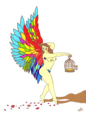 christine-jolly-christinejolly-art-paris-artiste-peintre-dessin-spiritualité-Oiseau de paradis