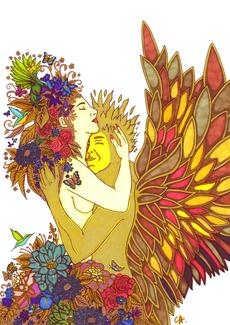 christine-jolly-christinejolly-art-paris-artiste-peintre-dessin-spiritualité-La terre en amour avec le soleil (2021)