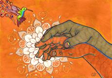 christine-jolly-christinejolly-art-paris-artiste-peintre-dessin-spiritualité-De l'amour naissent les plus belles fleurs (2020)