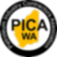 PICA Logo - Yellow map of Australia in a black ring with PICA WA written on it