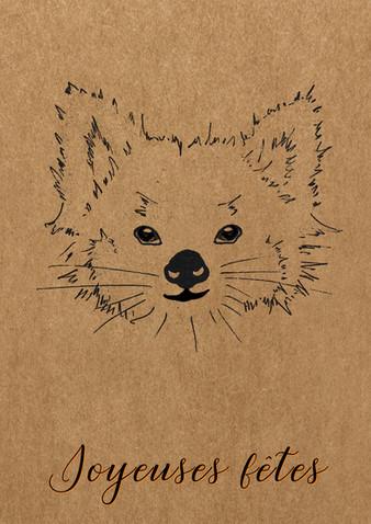 carte de voeux panda roux