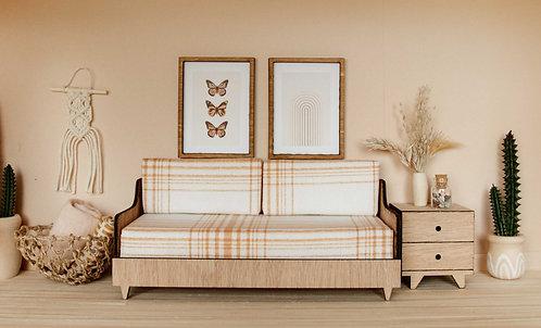 Mid Century Sofa in Ochre Plaid