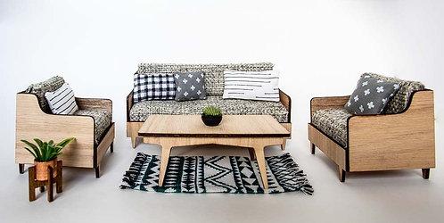 Mid Century Living Room 4 Piece Set