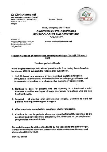 WILGERS IVF-COVID-19 OFFICIAL LETTER