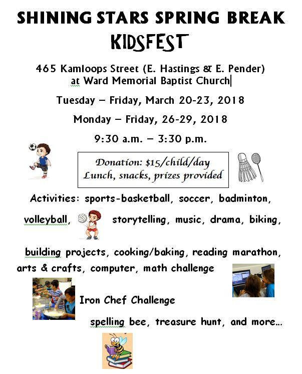 2018 Shining Stars Spring Break -Kidsfest