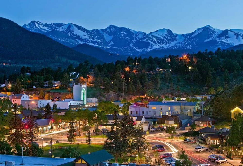 Evening view of Estes Park Colorado