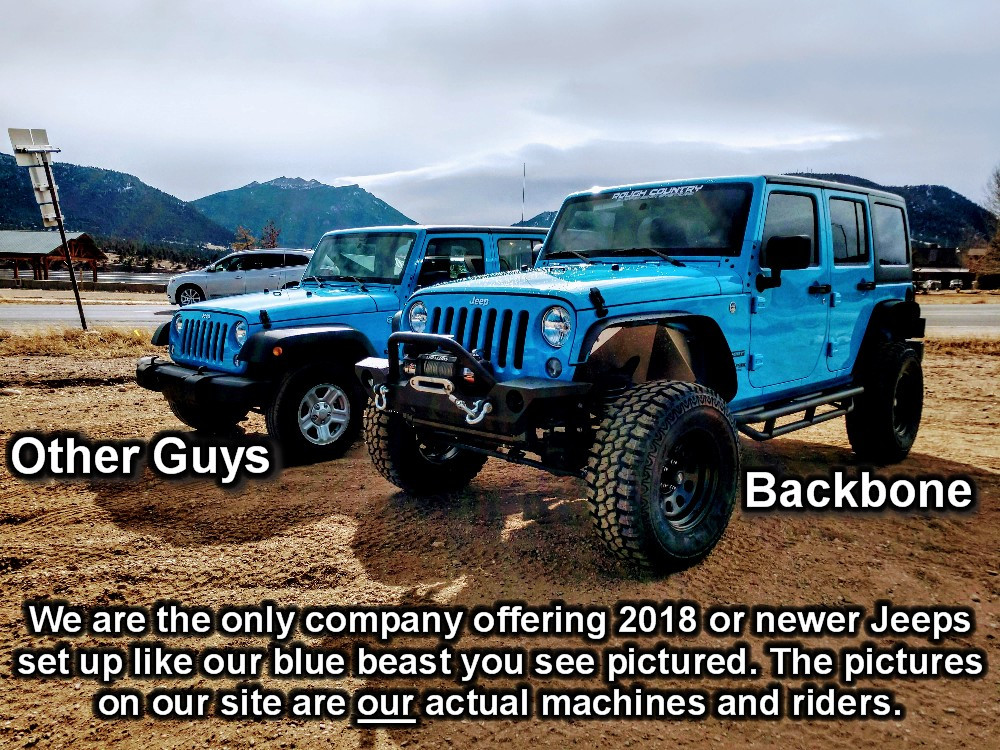Jeep wrangler Estes Park Colorado comparison. Lifted Jeep