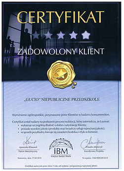 2019r. - Certyfikat IBM Zadowolony Klien