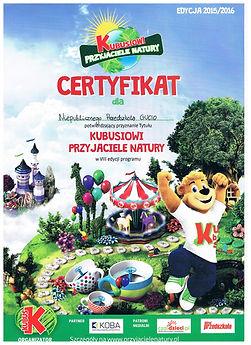 2015r. - Certyfikat Kubusiowi Przyjaciel