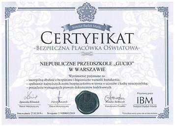 2019r._-_Certyfikat_Bezpieczna_Placówka_