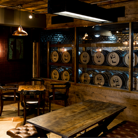The barrel room in the main bar