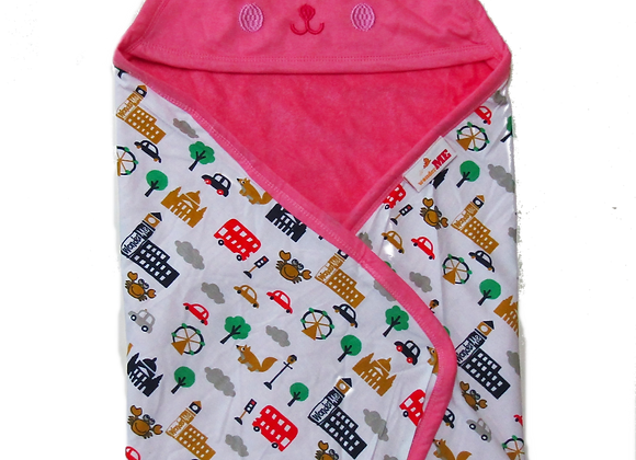 Double Layer Terry Towel with Character| Coral | WonderME