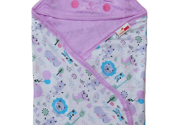 Double Layer Terry Towel with Character | Lilac | WonderME