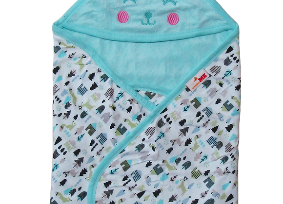 Double Layer Terry Towel with Character | Aqua | WonderME