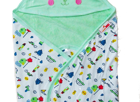 Double Layer Terry Towel with Character| Green Meadow | WonderME