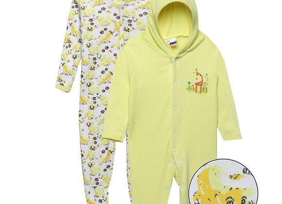 Baby Hooded Sleep suit | Yellow | WonderME