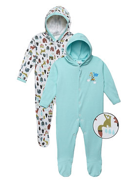 Baby Hooded Sleep suit | Aqua | WonderME